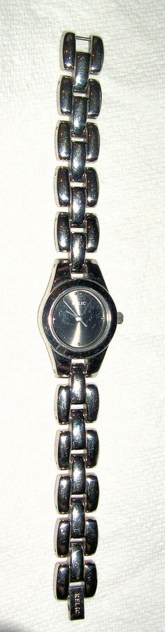Relic by Fossil Silver Black 30m WR SS  Quartz Ladies Watch,  New Battery  Keeps Good Time
