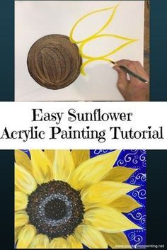 How To Paint A Sunflower. How To Paint A Sunflower - Step By Step Painting - Tutorial. Learn how to paint a sunflower with acrylics on canvas. Beginners guide to painting a large yellow sunflower on canvas. Instructions and video included. Sunflower Canvas Paintings, Easy Canvas Painting, Acrylic Painting Tutorials, Diy Canvas, Diy Painting, Painting & Drawing, Watercolor Paintings, Canvas Art, Watercolor Tips