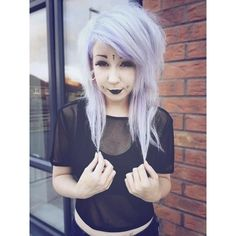 Super cute pastel goth girl with dimple piercings :) love it! | Pastel... ❤ liked on Polyvore featuring hair and people