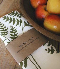 Tea Towel with Fern Design in Moss Green.