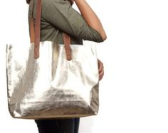 LARGE Gold leather bag, large everyday bag