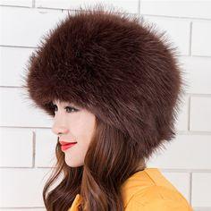 New Faux Fox Fur Hat Winter Warm Women Russian Cossack Style  Headgear 049