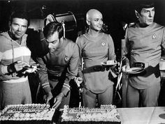 star trek the motion picture cast celebrating a birthday during production....