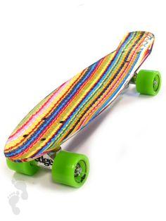 Alternative view of the Edge Series Prints Retro Cruiser Skateboard 22inch Candy Stripe | twobarefeet.co.uk