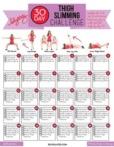30 Day Thigh Slimming Challenge - Blogilates, Pop Pilates
