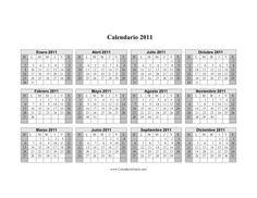 Calendario 2011 Una Página Horizontal Cuadriculado Descendente Sombreado Fines De Semana imprimir gratis