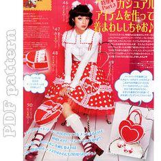 Lolita Heart Skirt and Heart Purse Sewing Pattern PDF