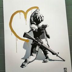 Heart Attack, Gold, by DS #heart #graffiti #streetart #cherubs #gold #silkscreen