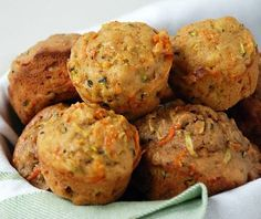 Carrot/zucchini muffins - recipe fills one mini muffin pan. Lightly coat muffin tin w/ olive oil, bake 25 min (no time reduction) for minis. Can cut sugar a bit. Zucchini Muffin Recipes, Zucchini Muffins, Recipe Zucchini, Yogurt Muffins, Mini Muffins, Great Recipes, Favorite Recipes, Healthy Snacks, Healthy Recipes