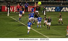 Rugby World Cup 2011 match between South Africa and Namibia at the North Shore Stadium in Auckland, New Zealand on September - stock photo Rugby World Cup, September 22, North Shore, Auckland, New Zealand, South Africa, Stock Photos, Running, Sports