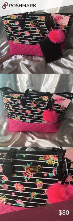 💋SALE💋NWT Betsey Johnson Floral Tote with pouch BRAND NEW with tag Betsey Johnson Floral print Stripe Tote with a detachable black pouch! Inside is black and white stripes. Will ship immediately, get her now❤ Betsey Johnson Bags Totes