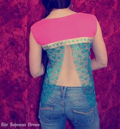 Bohemian top open lace back shirt slit lace fuchsia pink Aztec pattern Boho Hippie layering Upcycled clothing OOAK by TheBohemianDream Upcycled Clothing, Clothing Hacks, Sewing Clothes, Diy Clothes, Bohemian Tops, Recycled Fashion, Lace Back, Boho Hippie, Handmade Clothes
