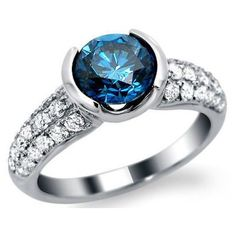 1.81ct Fancy Blue Round Diamond Engagement Ring 18k White Gold / Front... ($3,750) ❤ liked on Polyvore