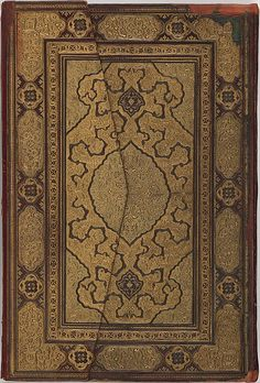 This is an elaborate example of the most common type of Safavid binding. Based on the Timurid-style binding, it contains a central medallion, quadrants, and a border of panels. The field pattern was created by stamping a mold on the surface of the cover made of leather and paper; first the upper half of the binding was stamped and then the mold was reversed to stamp on the lower half