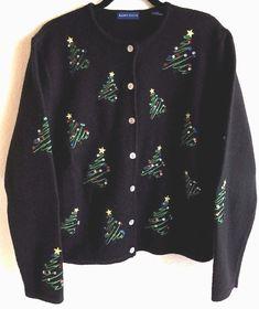 d10125bca7 Karen Scott Large Christmas Sweater Cardigan Tree Black 100% Wool Sequins  #KarenScott #Cardigan