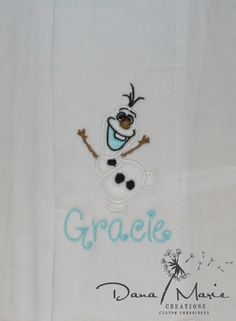 Personalized Burp Cloth Baby Bib Olaf FREE SHIPPING in USA by Dana Marie Creations