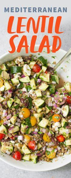 Mediterranean Lentil Salad #JustAddPulses #HalfCupHabit @USApulses @pulsecanada #sponsored