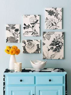 Stencilled fabric wall canvas art