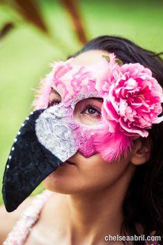 Senorita Flamingo Masquerade Mask III - Handmade with new and  Recycled Materials. $75.00, via Etsy.