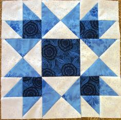 Little Quilts 2nd Sat. December 2014 Alternate Block - Blue & White