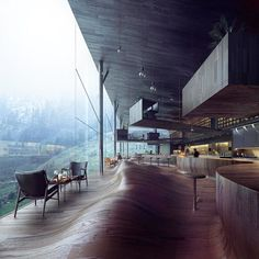 the undulating wood floor in the restaurant of a hotel proposal by jensen skodvin in vals located close to peter zumthors renowned thermal spa in switzerland.- unique, flooring Posted to Souda's Tumblr From the Pinterest Board: Architecture - Modern...