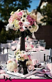 romantic girly pink and black tablescape centerpiece