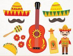 Fiesta Clip Arts, Cinco de Mayo Clip Arts SVG, Maracas Clipart, Mexico SVG Files, Tequilla Clip Arts, Sombrero Clip Art SVG Cricut Files