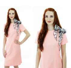 Mod Neon Dress 60s Bright Coral Pink 1960s by neonthreadsdesigns, $40.00