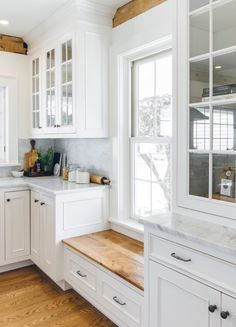 Love the window seat under low window to keep cabinets going | Farmhouse Kitchen by The & Kitchen window lower than counter solutions:one had stainless pan ... Pezcame.Com