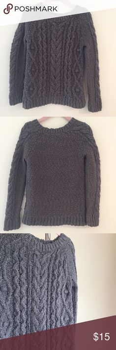 Baby GAP Cable Knit Sweater in Grey Baby GAP Cable Knit Sweater in Grey. Crew Neck. Chunky Knit. Long raglan sleeve. Straight hem. Ribbed throughout. Gently used and in Excellent Condition. GAP Shirts & Tops Sweaters