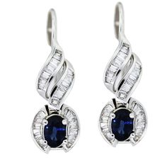 14K White Gold Sapphire and Diamond Drop Earrings | Designers and Diamonds