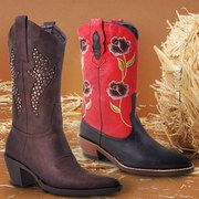 Apparently cowboy boots are in style. I like it! The red or the brown with turquoise.