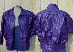 Vintage 80s Electric Purple Batwing Leather Jacket by COMINT - S. $30.00, via Etsy.