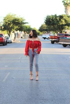 $29 ASOS Gingham Print Skinny Trousers Teamed With $11 Choies Red Off Shoulder Tie Front Crop Top And $31 Forever 21 Faux Suede Ankle-Wrap Heels