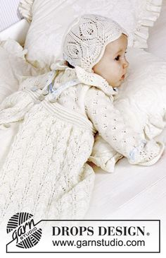 DROPS Baby 11-31 - The set comprises: Christening gown, bonnet and jump suit. - Free pattern by DROPS Design