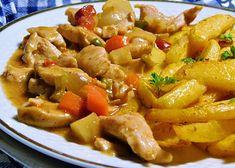 Moravanské kuřecí nudličky recept - TopRecepty.cz Kung Pao Chicken, Pasta Salad, Pork, Meat, Ethnic Recipes, Crab Pasta Salad, Kale Stir Fry, Pork Chops