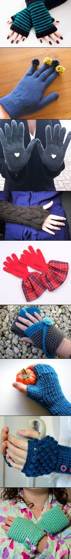 DIY Gloves ~ I pinned this here because I wear one glove when I am at the computer, my pinning hand, LOL. It keeps my hand from hurting. Maybe arthritis. Similar to glove 2 w/o the pom-poms. Cool Diy Projects, Sewing Projects, Fitness And Beauty Tips, Diy Pins, Diy Interior, Diy Clothing, Handmade Clothes, Handicraft, Diy Home Crafts