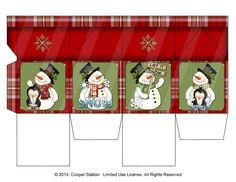 Digital Printable Christmas Milk Carton Snowman by CooperStation