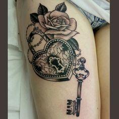 Padlock heart key tattoo by Bruno