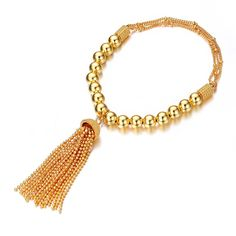 Exclusive Beads Chain Linked Design Gold Plated Tassel Elastic Beaded Bracelet
