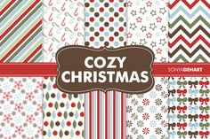 Digital Papers Cozy Christmas Patterns
