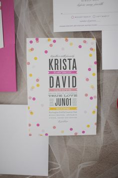 Pink and yellow polka dot #invitations | Photography: Elizabeth In Love | Design: http://www.kjandco.ca