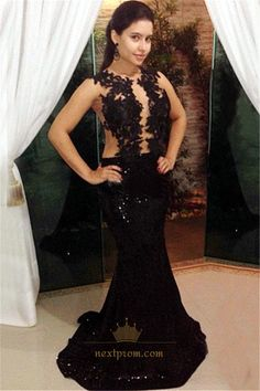 NextProm.com Offers High Quality Sheer Black Sleeveless Lace Floral Applique Sequin Mermaid Prom Dress,Priced At Only USD $125.00 (Free Shipping)