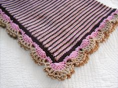Knit baby girl blanket with Crochet lace trim  Vegan by PinkyRoo, $59.00