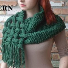 Knitting Pattern for Celtic Woven Scarf