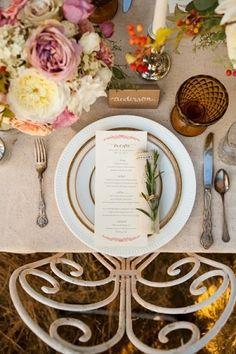 So beautiful! Fall-themed wedding table setting. Love this! repined by John Wolf Florist Savannah wedding