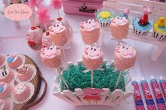 Marshmallow pops at a Peppa Pig birthday party! See more party planning ideas at CatchMyParty.com!