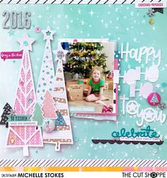 """The Cut Shoppe: Layout by Michelle Stokes uses the """"Tree Farm"""" and """"'Tis the Season"""" cut files."""