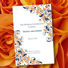 Wedding Program Template Flourish Navy Blue & by WeddingTemplates, $10.00
