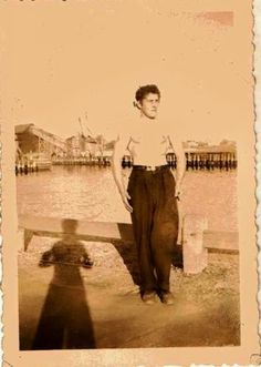 Vintage Antique Photograph Muscular Shirtless Man in Pleated Pants Spooky Shadow